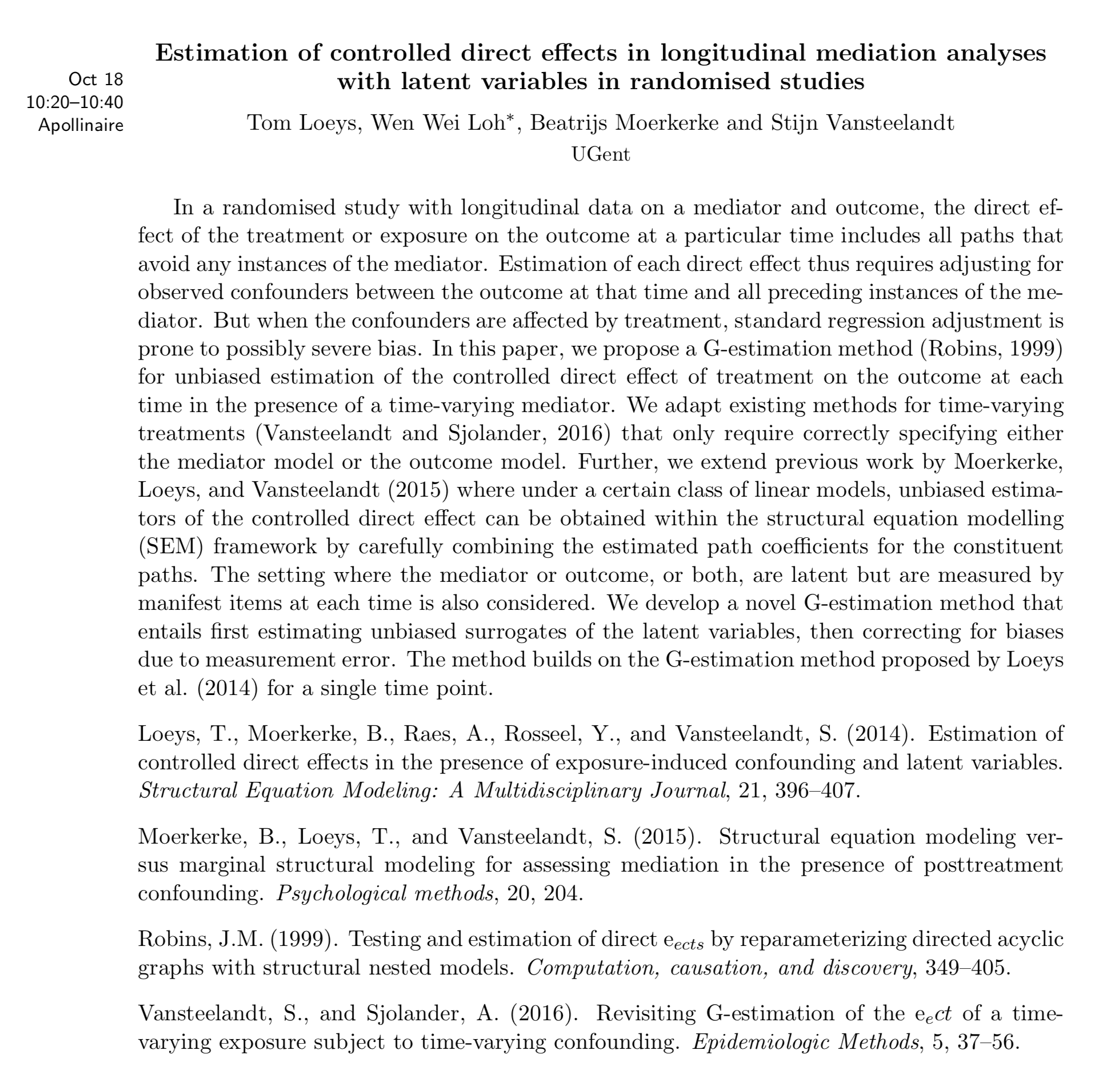 Program 26th annual meeting of the rssb estimation of controlled direct effects in longitudinal mediation analyses with latent variables in randomised studies ibookread ePUb